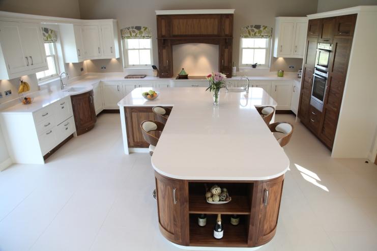Stunning T-shaped island centre piece · Open plan ... & Walnut Open Plan Kitchen Designs | Bespoke Kitchens