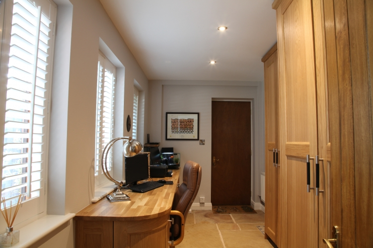 fitted home office in oak bespoke home office