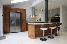Walnut and Hand Painted Kitchen with curved island