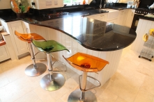 Stunning curved breakfast bar with star galaxy worktop