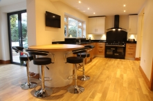 Modern family kitchens in European Oak for Leicester, Leicestershire homes