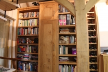 Custom bookshelves created in this challenging space