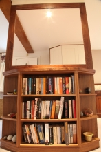 Hand-crafted bookcase and mirror