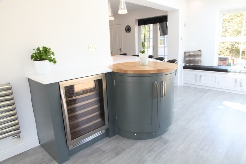 Curved kitchen cabinetry